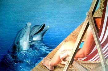 mulher com golfinhos